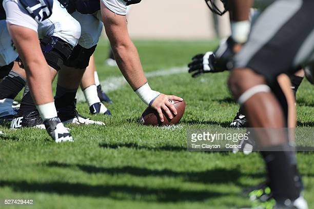 Army prepare to snap the ball at the line of scrummage during the Yale V Army Football match at Yale Bowl New Haven Connecticut USA 27th September...