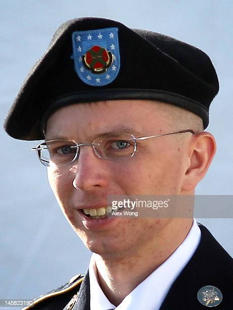S Army Private Bradley Manning is escorted as he leaves a military court at the end of the first of a threeday motion hearing June 6 2012 in Fort...