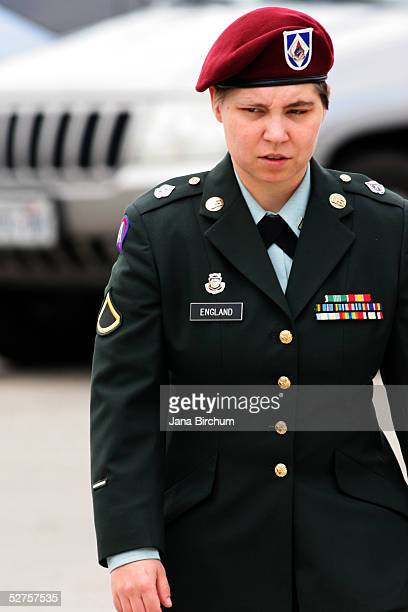 S Army Private First Class Lynndie England reenters the courtroom on the third day of her courtsmartial in the Abu Ghraib Prison scandal on May 4...
