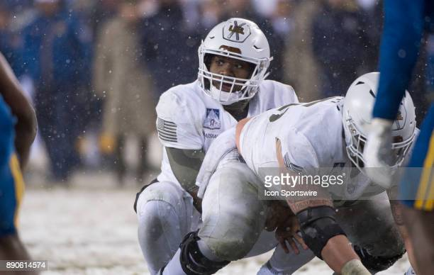 Army QB Ahmad Bradshaw readies to snap the ball in the second half during the game between The Army Black Knights and Navy Midshipmen on December 09...