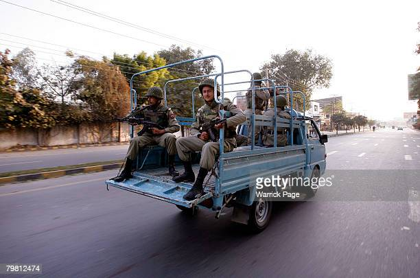 Army Rangers patrol the streets of Lahore on the eve of national elections February 17 2008 in Lahore Pakistan Pakistani national elections will take...