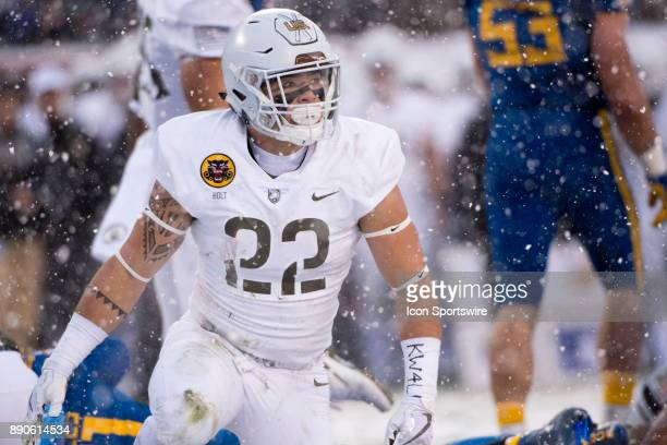 Army RB Calen Holt looks on after a rush in the first half during the game between The Army Black Knights and Navy Midshipmen on December 09 2017 at...
