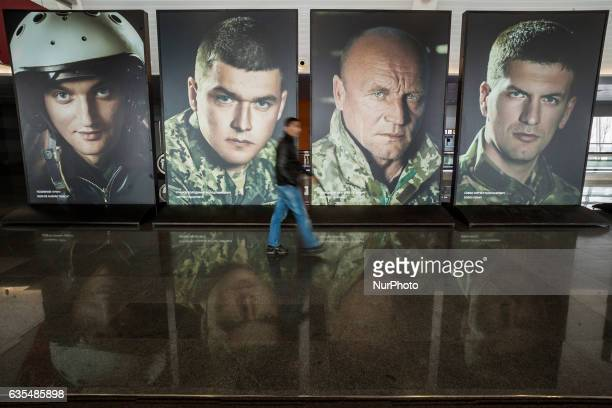 Army recruitment photo exhibition to encourage enlistment in Boryspol airport Kiev Ukraine on 15 February 2017