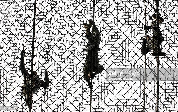 u.s. army recruits completing an obstacle at victory tower during basic combat training. - military training stock pictures, royalty-free photos & images