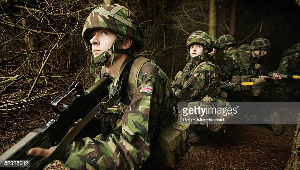 Army recruits go through basic training at the Army Training Regiment on March 9, 2005 in Winchester, England. The House of Commons Defence Select...