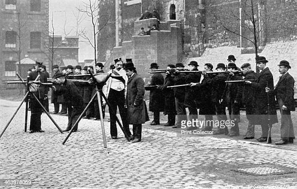 Army reserve men at musketry drill at the Tower of London 1896 A print from The Navy and Army Illustrated 17th April 1896