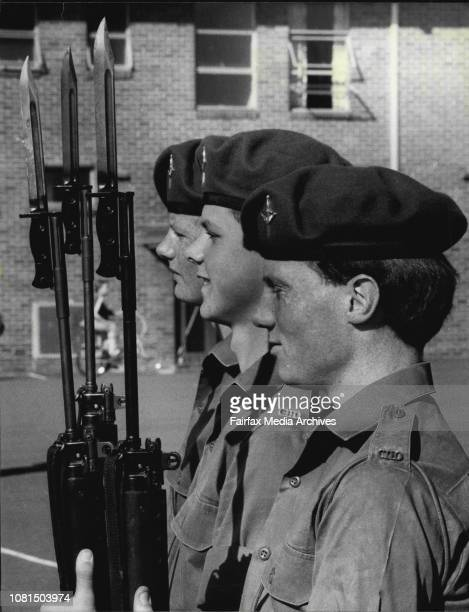 Privates Karl Richardson Robert Williams and Brendan Quail after receiving their Green BeretsThree 17 yearold Sydney Schoolboys were presented with...