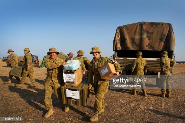 Army Reserve soldiers from Keswick Barracks in Adelaide unload supplies at the Kingscote Airport base camp on January 08 2020 on Kangaroo Island...