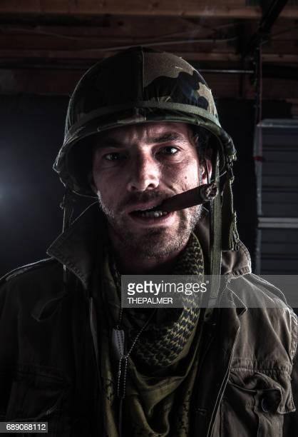 Army sargent smoking
