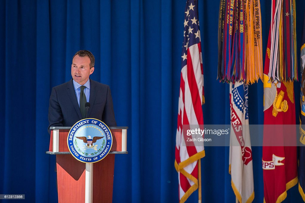 U.S. Army Secretary Eric Fanning speaks during a ceremony honoring 2016 active duty military Olympians and Paralympians at The Pentagon on October 3, 2016 in Arlington, Virginia. The ceremony hosted 20 members of the U.S. military who competed in the 2016 games.