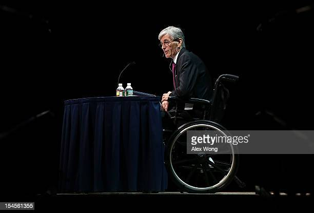 Army Secretary John McHugh, in a wheelchair because of an injury from a bicycle accident, speaks during the 2012 annual meeting and exposition on...
