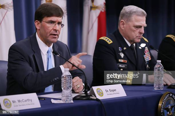 S Army Secretary Mark Esper and Army Chief of Staff Gen Mark Milley announce that Austin Texas will be the new headquarters for the Army Futures...