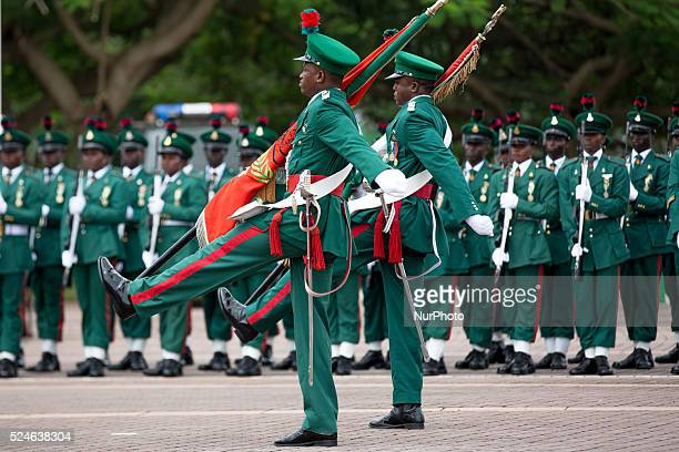Army seen on parade during Nigeria's 55th independence anniversary in Abuja on 1st October 2015