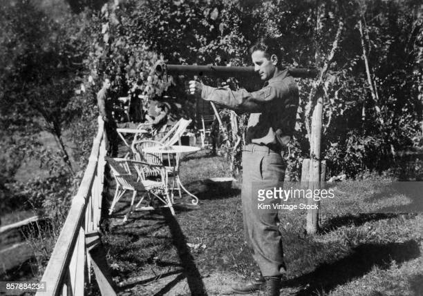 Army sergeant poses with a bazooka during the allied campaign in Italy 19431945