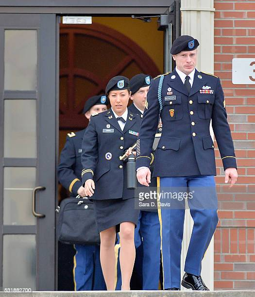 S Army Sgt Bowe Bergdahl leaves the Ft Bragg military courthouse with his legal team after a pretrial hearing on May 17 2016 in Ft Bragg North...