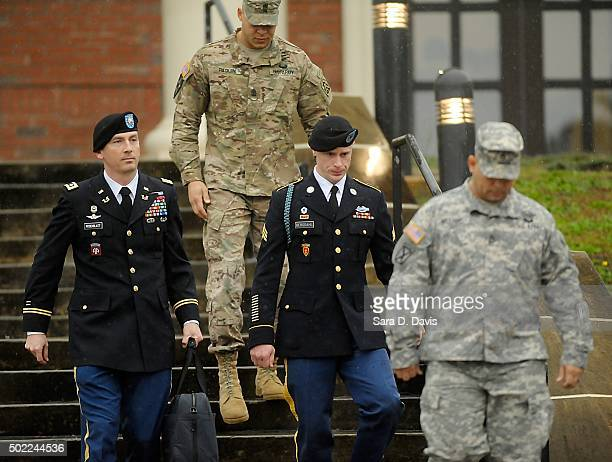 Army Sgt Bowe Bergdahl of Hailey Idaho leaves a military courthouse with his attorney Lt Col Franklin Rosenblatt on December 22 2015 in Ft Bragg...