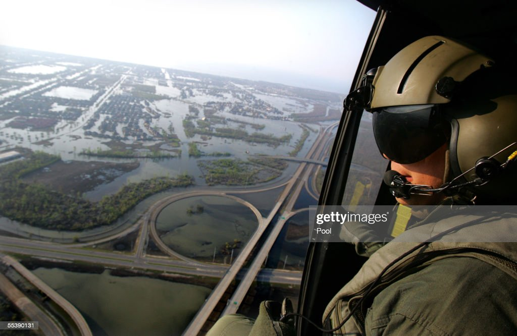 U.S. Army Sgt. Ed Wrubluski looks at the fully evacuated New Orleans area September 12, 2005 in New Orleans, Louisiana. U.S. President George W. Bush, on a tour of devastated New Orleans, rejected charges that the government was slow to respond to Hurricane Katrina because the nation's military was over-extended in Iraq and denied race component to Katrina response. Hurricane Katrina hit the region on August 29, 2005, causing numerous deaths and severe property damage in Louisiana and Mississippi.
