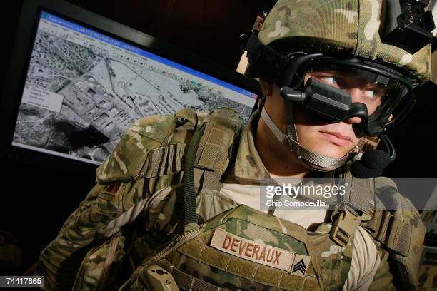 Army Sgt Josh Deveraux models the gogglemounted display below his right eye which can be used to look at the battlefield part of his Future Force...