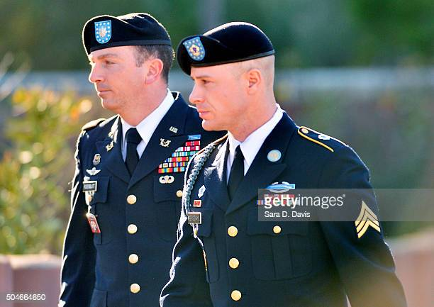 S Army Sgt Robert Bowdrie 'Bowe' Bergdahl 29 of Hailey Idaho arrives at the Ft Bragg military courthouse with his attorney Lt Col Franklin Rosenblatt...
