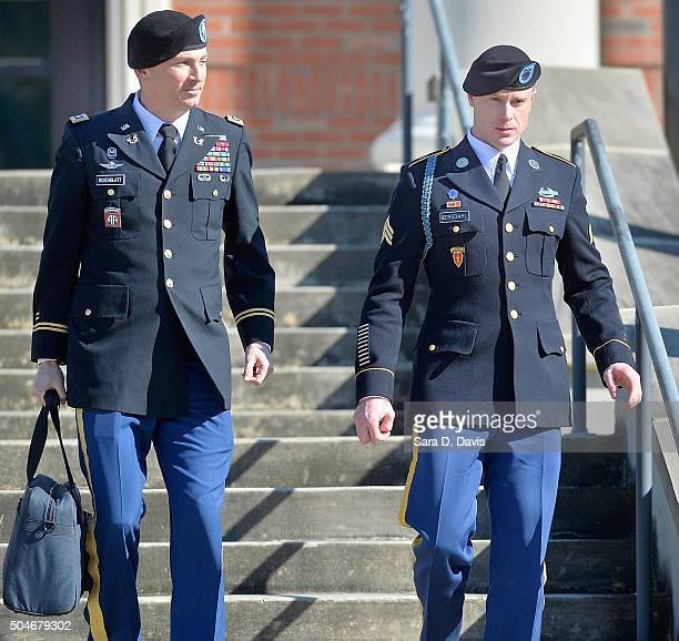 S Army Sgt Robert Bowdrie 'Bowe' Bergdahl 29 of Hailey Idaho leaves the Ft Bragg military courthouse with his attorney Lt Col Franklin Rosenblatt...