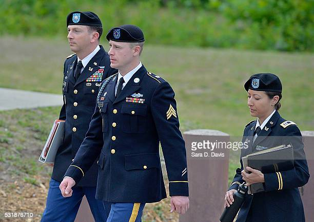 S Army Sgt Robert Bowdrie 'Bowe' Bergdahl 30 of Hailey Idaho arrives at the Ft Bragg military courthouse with his attorney Lt Col Franklin Rosenblatt...