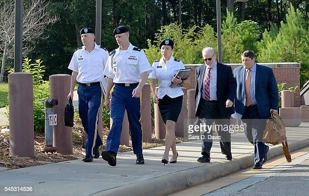 S Army Sgt Robert Bowdrie 'Bowe' Bergdahl 30 of Hailey Idaho arrives at the Ft Bragg military courthouse with his military and civilian legal counsel...