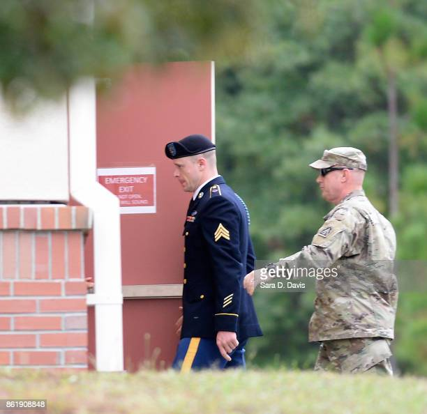 S Army Sgt Robert Bowdrie 'Bowe' Bergdahl 31 of Hailey Idaho arrives at the Ft Bragg military courthouse for a motions hearing on October 16 2017 in...