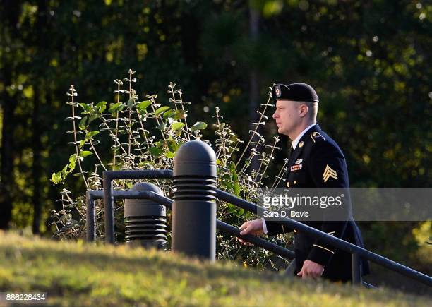 S Army Sgt Robert Bowdrie 'Bowe' Bergdahl 31 of Hailey Idaho enters the the Ft Bragg military courthouse for his sentencing hearing on October 25...