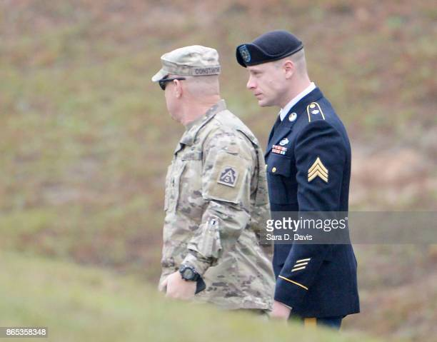 S Army Sgt Robert Bowdrie 'Bowe Bergdahl' 31 of Hailey Idaho is escorted into the Ft Bragg military courthouse for his sentencing hearing on October...