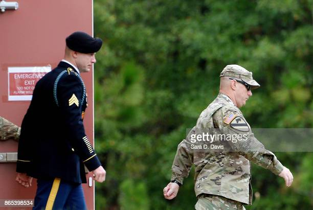 S Army Sgt Robert Bowdrie 'Bowe' Bergdahl 31 of Hailey Idaho is escorted out of the Ft Bragg military courthouse during his sentencing hearing on...
