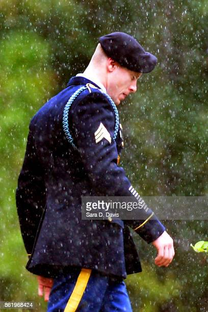 S Army Sgt Robert Bowdrie 'Bowe' Bergdahl 31 of Hailey Idaho leaves the Ft Bragg military courthouse for a lunch recess after pleading guilty to...