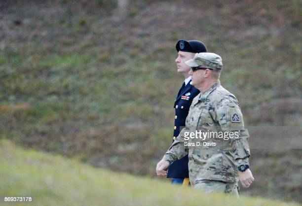 S Army Sgt Robert Bowdrie ÒBowe' Bergdahl is tightly escorted into the Ft Bragg military courthouse for the seventh day of sentencing proceedings on...