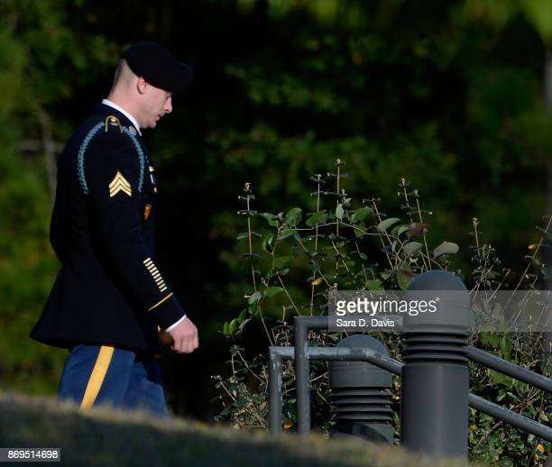 S Army Sgt Robert Bowdrie 'Bowe' Bergdahl leaves the Ft Bragg military courthouse after the prosecution and defense rest during the seventh day of...