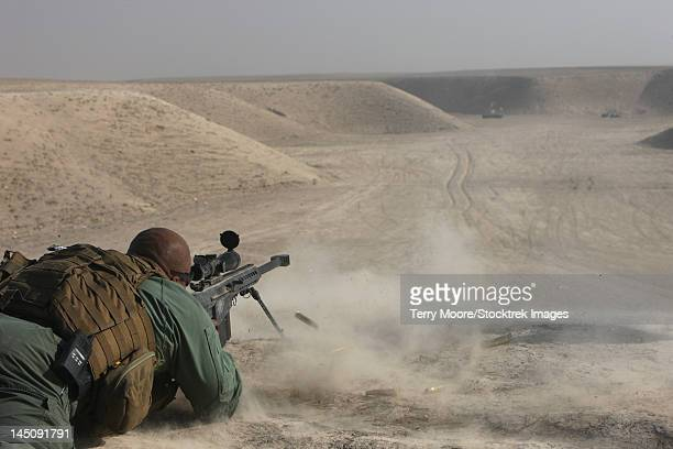 A U.S. Army soldier fires a Barrett M82A1 rifle on a firing range in Kunduz, Afghanistan.