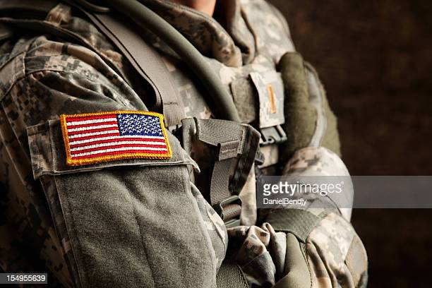 us army soldier in universal camouflage uniform - army soldier stock photos and pictures