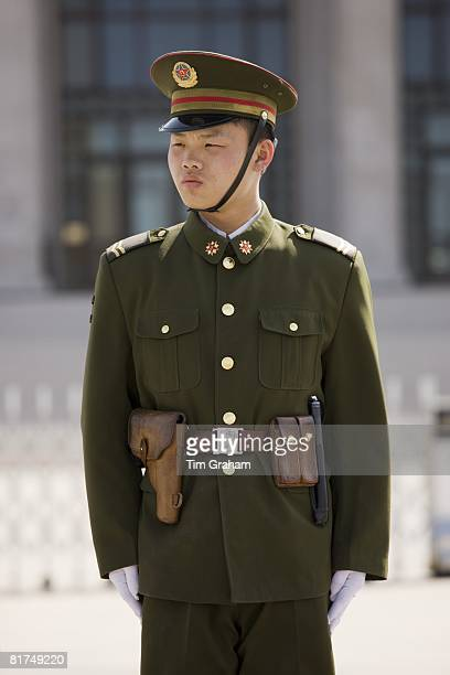 Army soldier outside Mao's Mausoleum Tian'an Men Square Beijing China