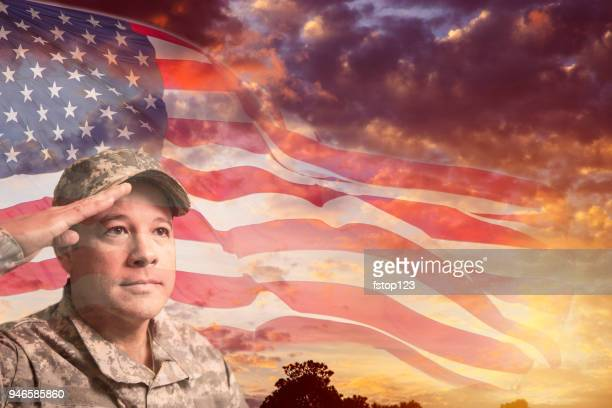 USA army soldier overlay sunset, American flag.