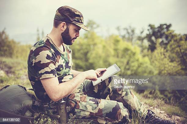 Army Soldier with tablet