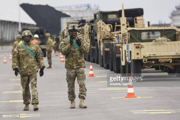 Army soldiers are seen as equipment for 17 units making up a rotational combat sustainment support battalion in support of Operation Atlantic Resolve...