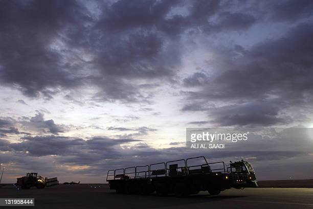 US army soldiers begin their journey home out of Iraq from the alAsad Air Base west the capital Baghdad on November 1 2011 The massive logistical...