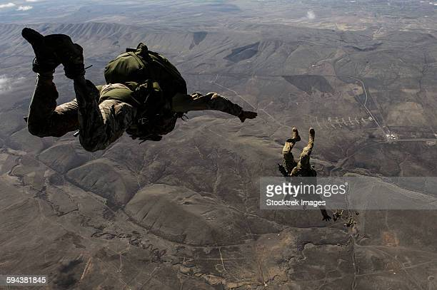 U.S. Army soldiers conduct a HALO jump over Washington.