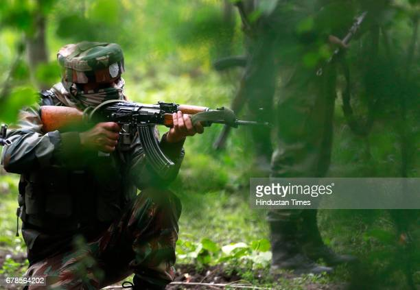 Army soldiers during an operation against militants in Shopian district south of Srinagar on May 4 2017 in Srinagar India Thousands of soldiers and...