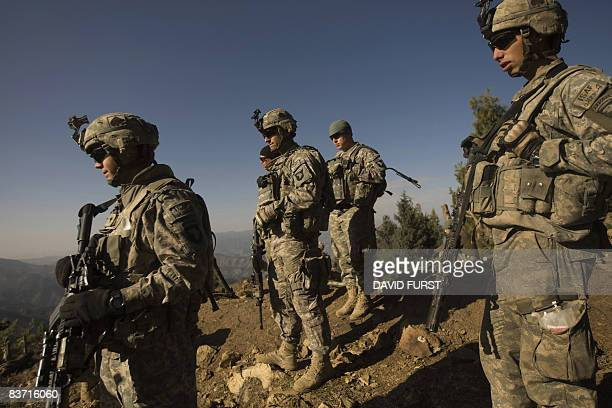Army soldiers from 2-506 Infantry 101st Airborne Division prepare to set off on patrol during day two of Operation Radu Bark VI, in the Spira...