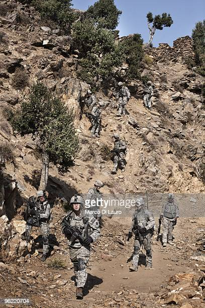 Army soldiers from B Company 2nd Battalion12th Infantry Regiment 4th Brigade4th Infantry Division Baker Company are seen on patrol in the valley on...