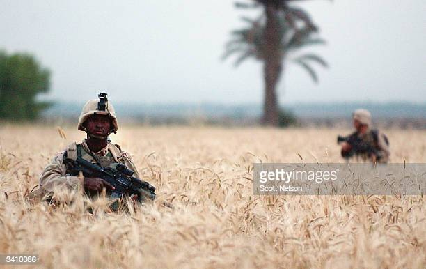 S Army soldiers from the 1st Battalion 14th regiment of the 25th Infantry Division advance through an open field during a battle against militiamen...