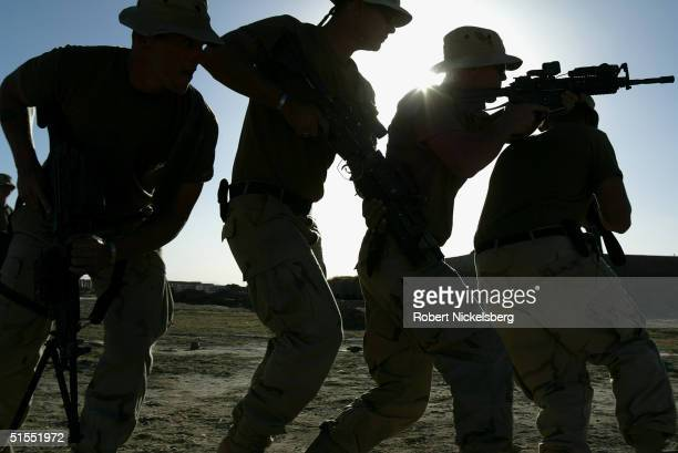 US Army soldiers from the 82nd Airborne Division practice close quarters room entry drills at a US Army base in Zormat Paktia Province Afghanistan on...