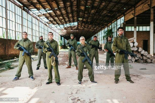 Army soldiers in deserted factory