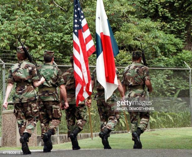 Army soldiers march during a ceremony celebrating the radio and television system of the Panamanian authorities. Soldados del Ejercito Sur de los...