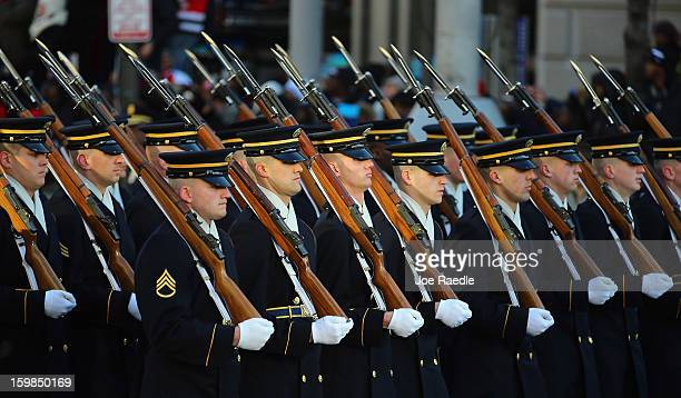 S Army soldiers march in the inauguration parade on January 21 2013 in Washington DC President Barack Obama was ceremonially sworn in for a second...