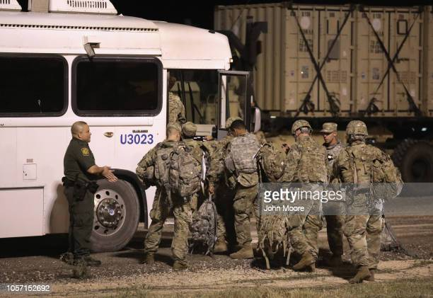 S Army soldiers move to another location near the USMexico border on November 3 2018 in Donna Texas President Trump ordered the troops to border...